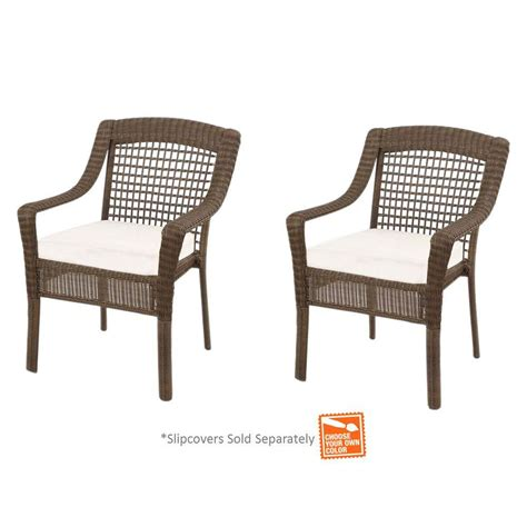 hton bay grey wicker patio dining chairs