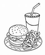 Burger Fries Drawing Coloring Printable Drink Junk Getdrawings sketch template