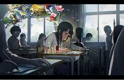 Anime Hintergrund Klassenzimmer Blumen Studieren Konversation Bildschirmfoto