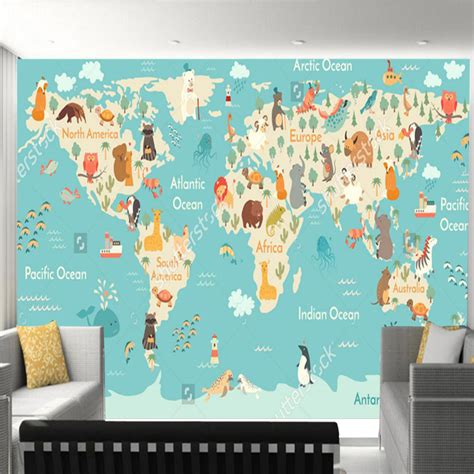 Charmante Inspiration Tapete Weltkarte Kinderzimmer Und