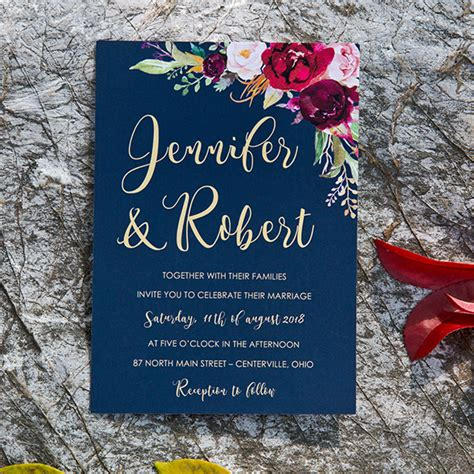 boho navy blue  burgundy floral watercolor wedding