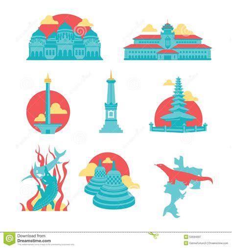 indonesia landmark stock illustrations  indonesia