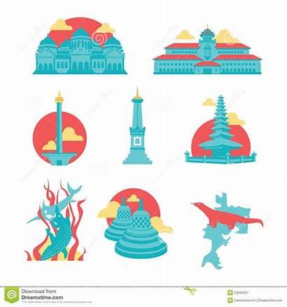 Indonesia Landmark Icons Famous Clipart Surabaya Flat