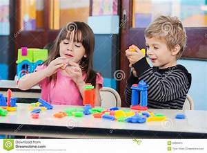 Children Playing With Blocks In Classroom Stock Photos ...