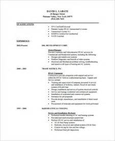Hvac Installer Resumes by Hvac Resume Template 7 Free Sles Exles Format