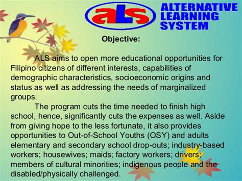 alternative learning system by phoebe w taruc mission