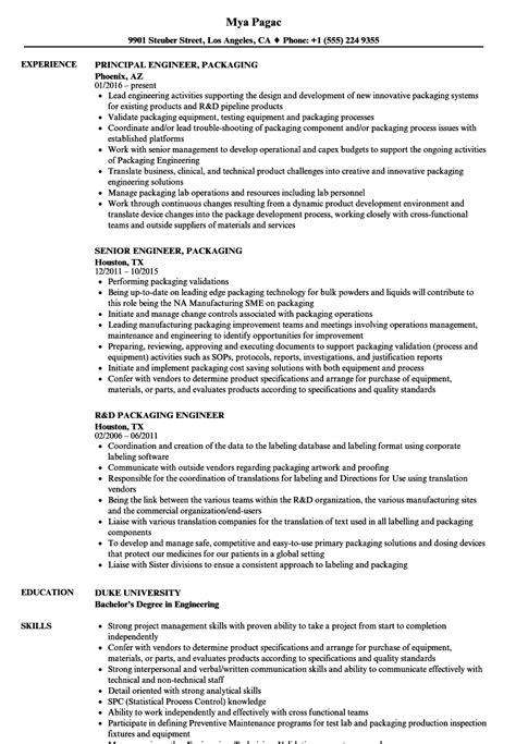 Resume For Packaging by Engineer Packaging Resume Sles Velvet
