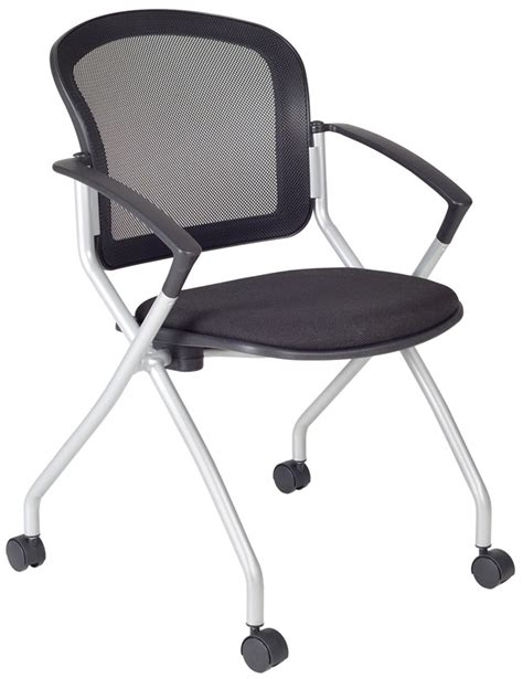 cadence mesh back nesting chair with casters black