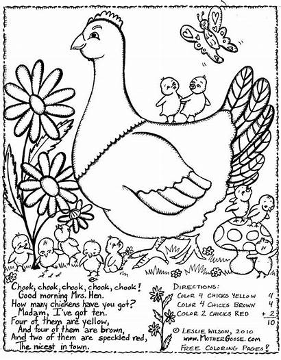 Hen Coloring Pages Rhymes Goose Mother Colouring