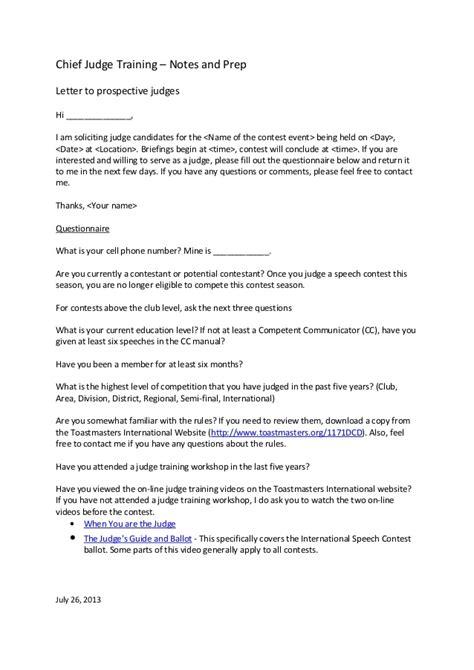 letter  prospective judges template