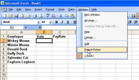 how to freeze freeze panes in microsoft excel
