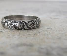 silver wedding bands engraved antique wedding band floral pattern ring silver