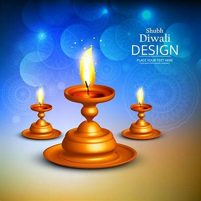Diwali Background Happy Vector Diya Candles Lamp