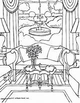 Coloring Interior Sheets Adults Printable Living Rooms Colouring Adult Drawings Point Getcolorings Coloriages Perspective Gonsowski Fred sketch template