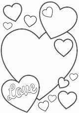 Valentine Coloring Pages Card Print sketch template