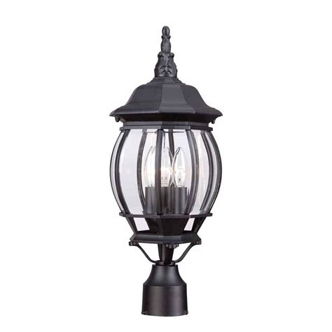 hton bay posts 3 light black outdoor post light hb7029