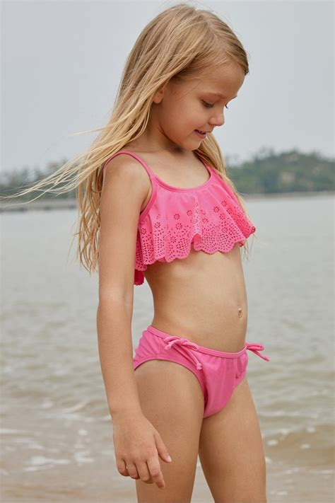 pink overlay set hollow  ruffles girls bikini