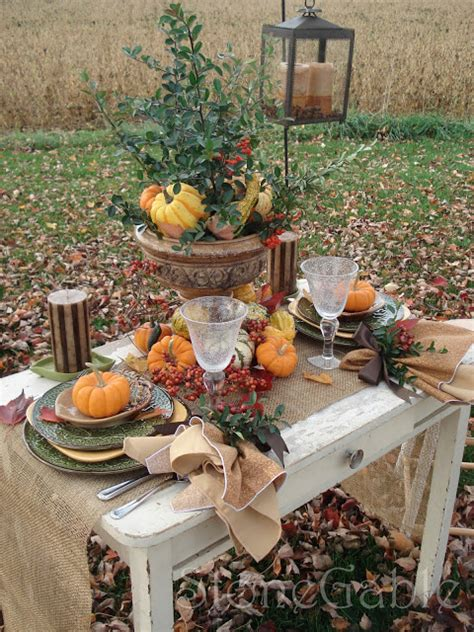 Stonegable An Outdoor Tablescape Among The Fallen Leaves