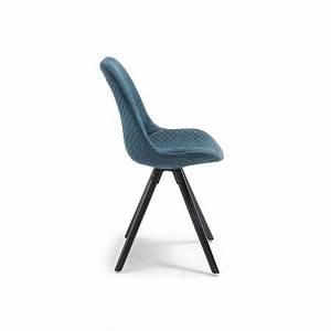Chaise Scandinave Noir : chaise design scandinave pieds bois en tissu matty bleu pieds noir ~ Teatrodelosmanantiales.com Idées de Décoration