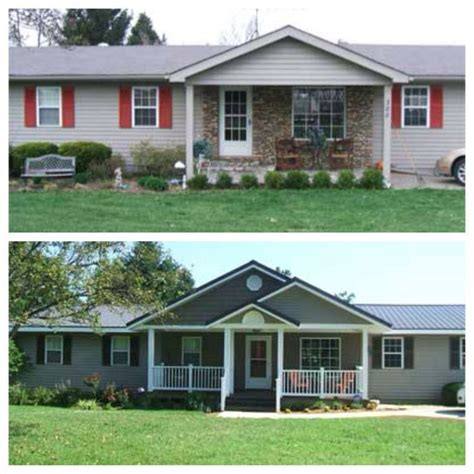 gray  white ranch house google search home exterior makeover porch remodel ranch style