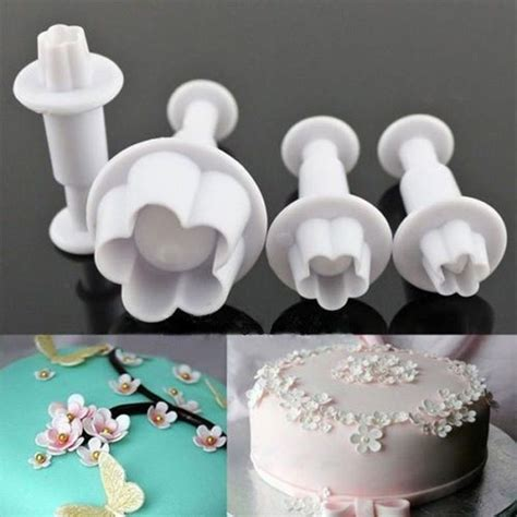 pcs plum flower plunger cake fondant decorating tools