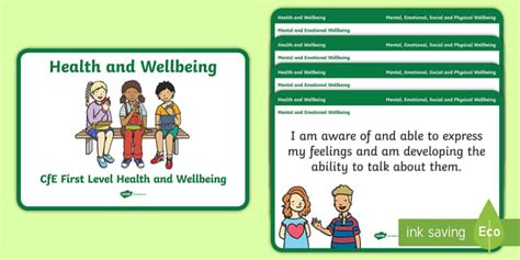 * New * Cfe First Level Health And Wellbeing Experiences And Outcomes Display