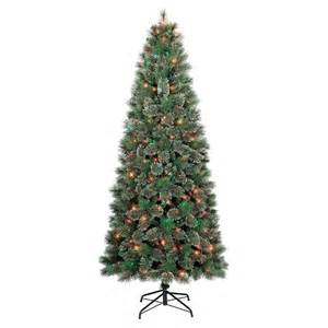 7 5 ft pre lit slim virginia pine artificial christmas tree multi color lights