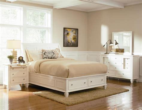 Sandy Beach White Wood Storage Sleigh Bed Bedroom Setfree