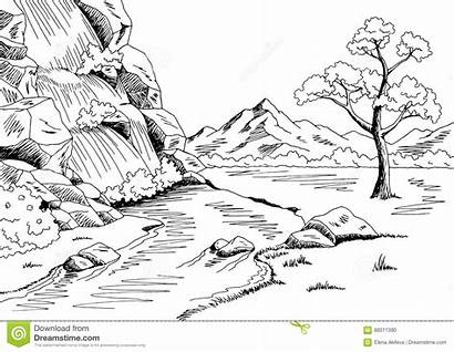 Waterfall Landscape Sketch Cascade Graphic Clip Paysage