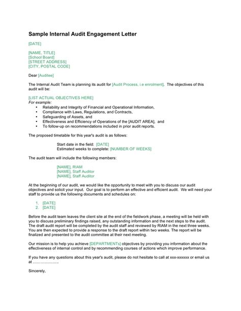 sample internal audit engagement letter canada  word