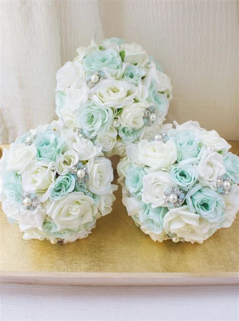 mint brooch bouquet bridesmaid bouquet silk flower