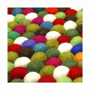grand tapis boules laine multicolore With tapis boules multicolores