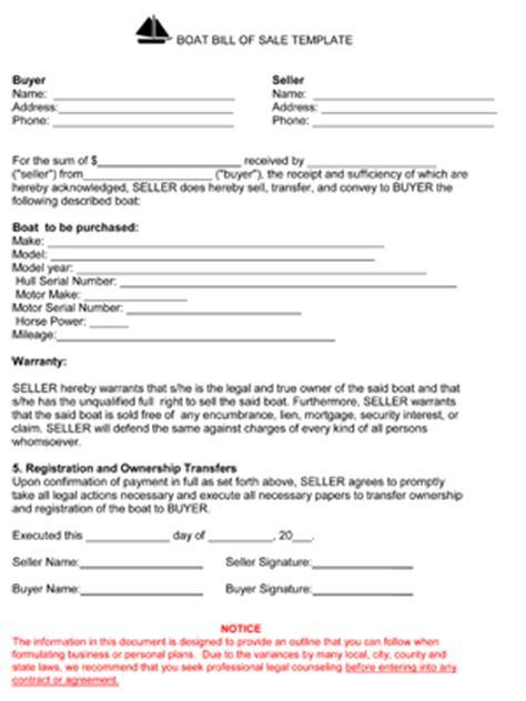 printable boat bill  sale form generic