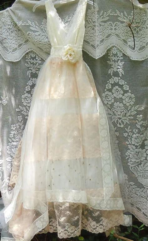 tulle wedding dress ivory cream lace floral roses boho