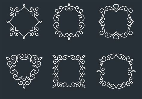 outline monogram frames graphics creative market