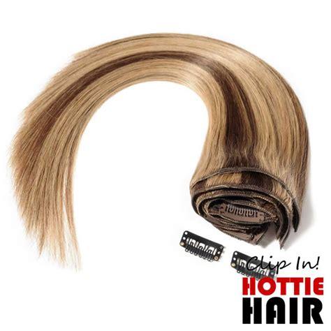 medium brown dark blonde mix clip  extensions remy
