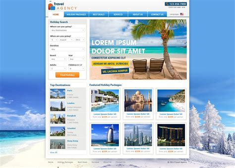 Tourism Website Design Free Templates by Travel Website Template Free Travel Agency Website