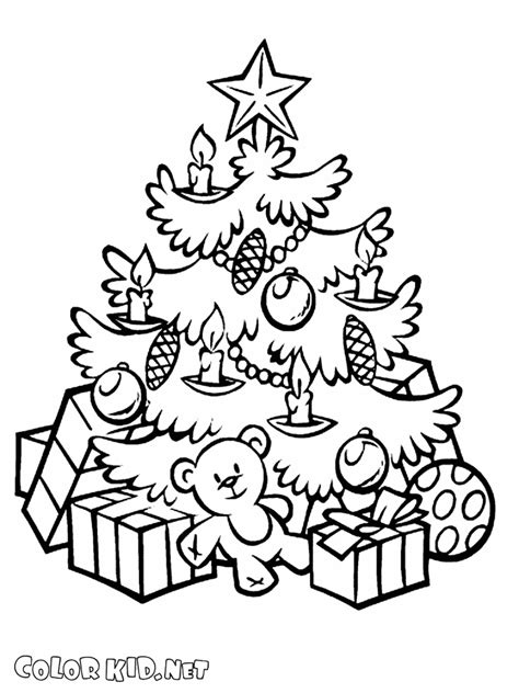 Coloring page   New Year and Christmas Tree