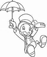 Cricket Pinocchio Jiminy Coloring Umbrella Pages Disney Wecoloringpage Sheets Ingrahamrobotics sketch template