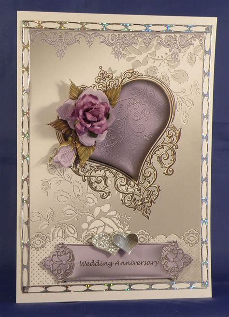 wedding anniversary  card  decoupage  mulberry