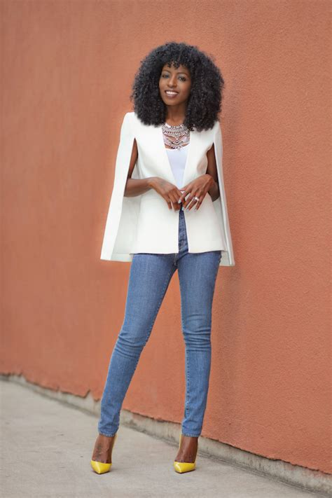 Style Pantry | white cape blazer