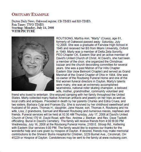 Free Obituary Template by 19 Free Obituary Templates Pdf Doc Free Premium