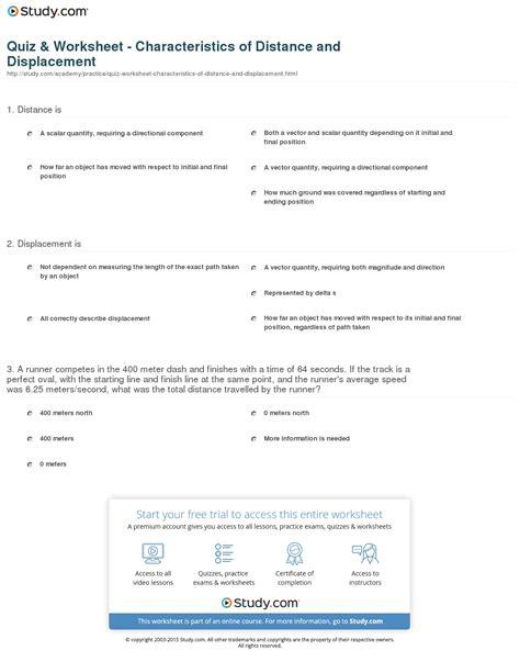 distance vs displacement worksheet worksheets
