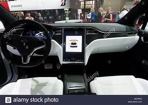 Interior dashboard view of Tesla Model X at Paris Motor Show 2016 Stock Photo - Alamy