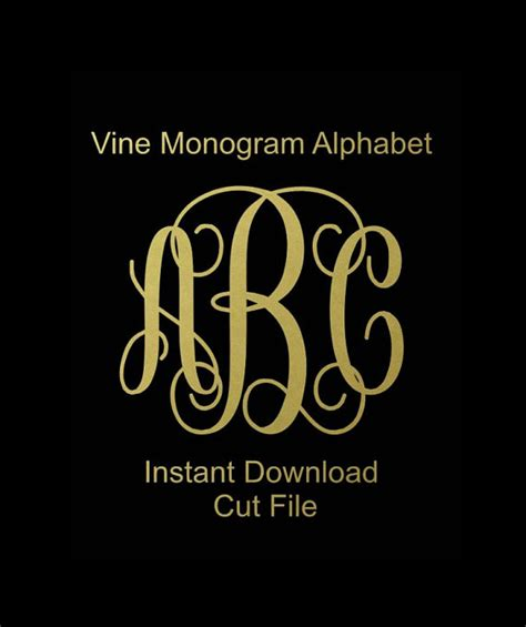 interlocking vine monogram svg vine monogram font svg