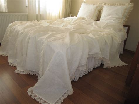 shabby chic coverlet linen bed cover coverlet solid ivory cream cotton tulle lace