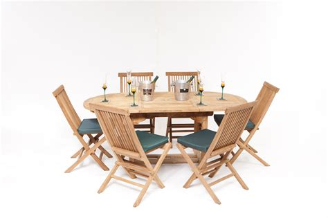 teak la baule  seater oval teak garden furniture set