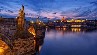 Prague Charles Bridge Dusk Czech Republic Evening