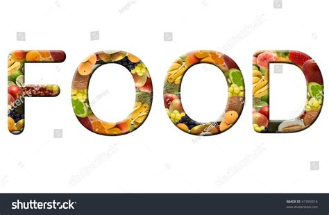 word for cuisine the word food made of fruit texture stock photo 47393416