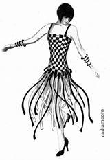 Flapper Drawing 1920s Charleston Flappers Erte Getdrawings Roaring Silhouette 20s sketch template